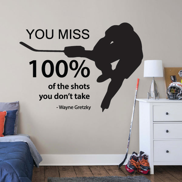 Motivational Hockey words with player