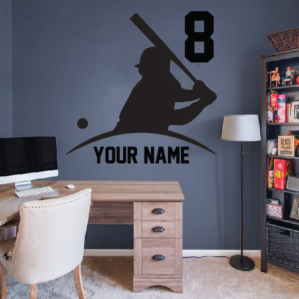 Half Baseball Player with name and number below