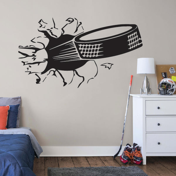 3D Hockey Puck Broking wall