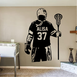 GIRL Personalized Lacrosse Player Decal