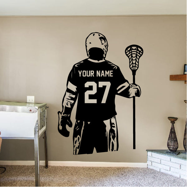 Personalized Lacrosse Player Decal