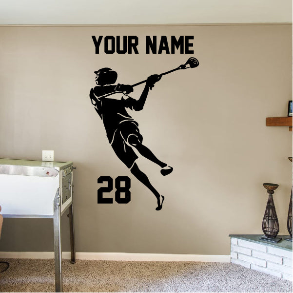 Lacrosse Player in action wall decal
