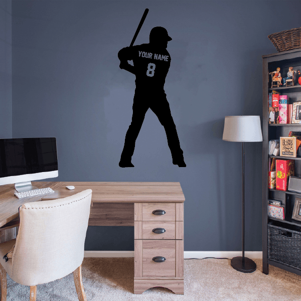 Ready Baseball Hitter Wall Sticker - personalized