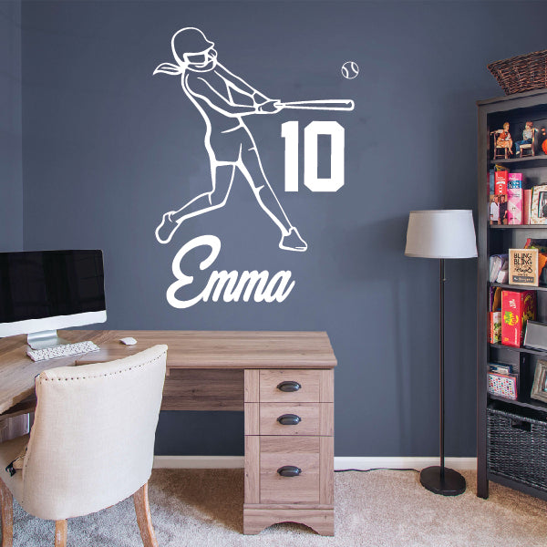 Softball GIRL - Personalized Hitter with your Name & Number