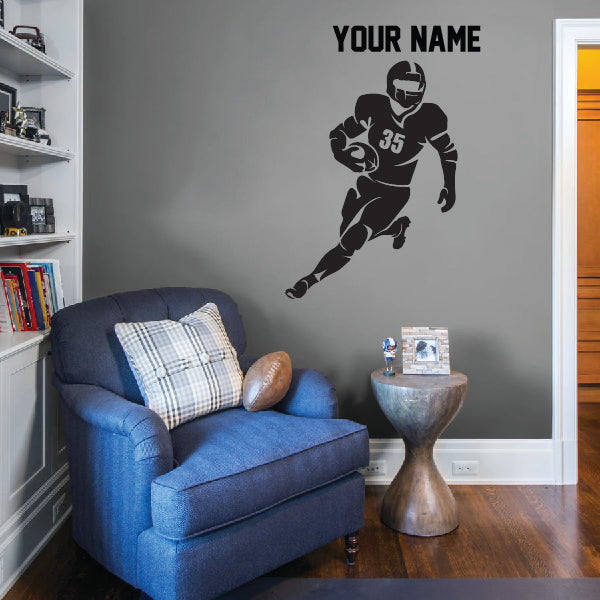 Running Football Player Wall Decal