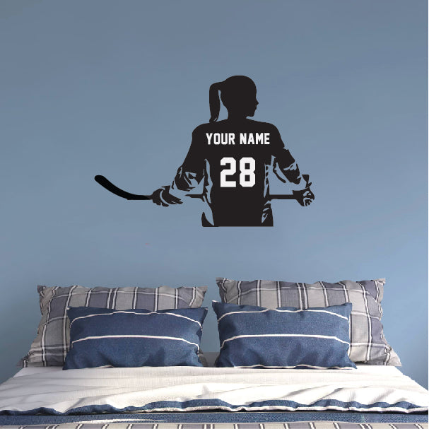 GIRL Hockey Player Decal With Customized Name