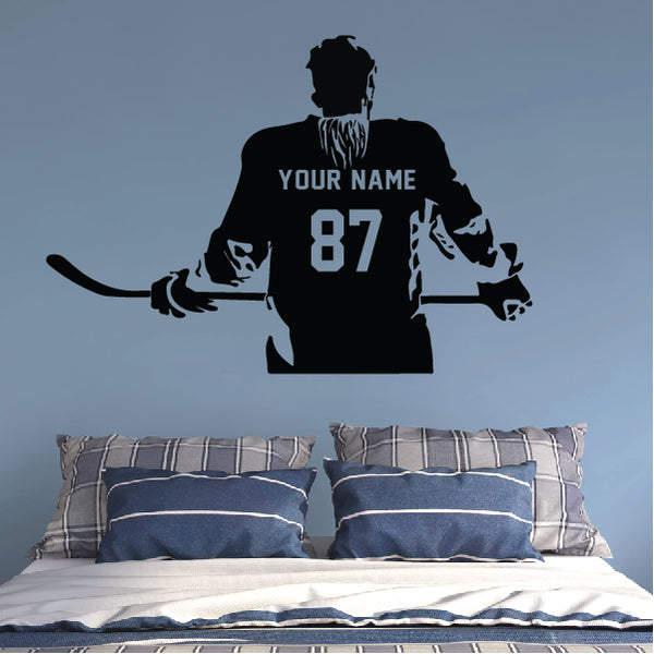 Hockey Player with Hair Customized sticker
