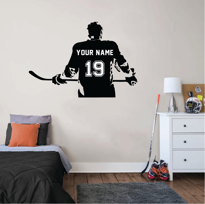 Personalized decal with name and number on Hockey Player