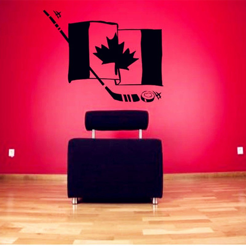 Hockey CANADA Flag Sticker For Wall or Car