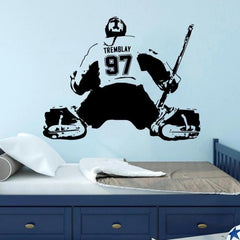 GIRL HOCKEY GOALIE personalized name and number wall decal