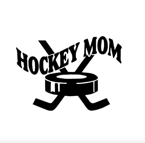 Hockey MOM cross puck car, wall, mirror.. sticker