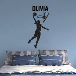 GIRL Basketball Player Throwing Ball Sticker