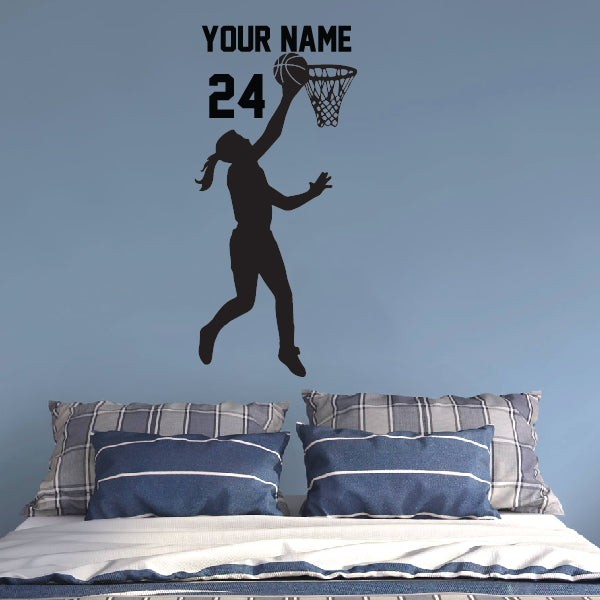 Personalized GIRL Basketball Player in the game