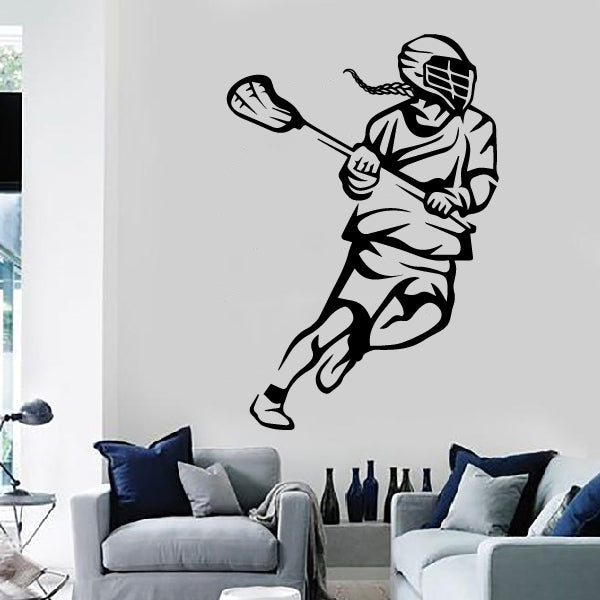 GIRL! Running Lacrosse Player Decal