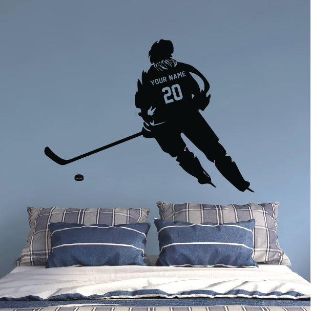 Hockey Player (with hair) in the Game Wall Sticker