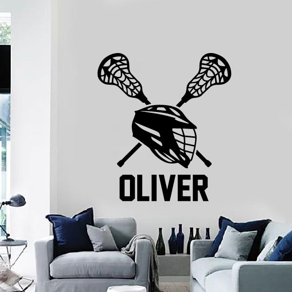 Lacrosse helmet with your name Wall Sticker
