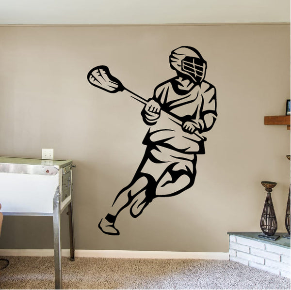 Running Lacrosse Player Decal