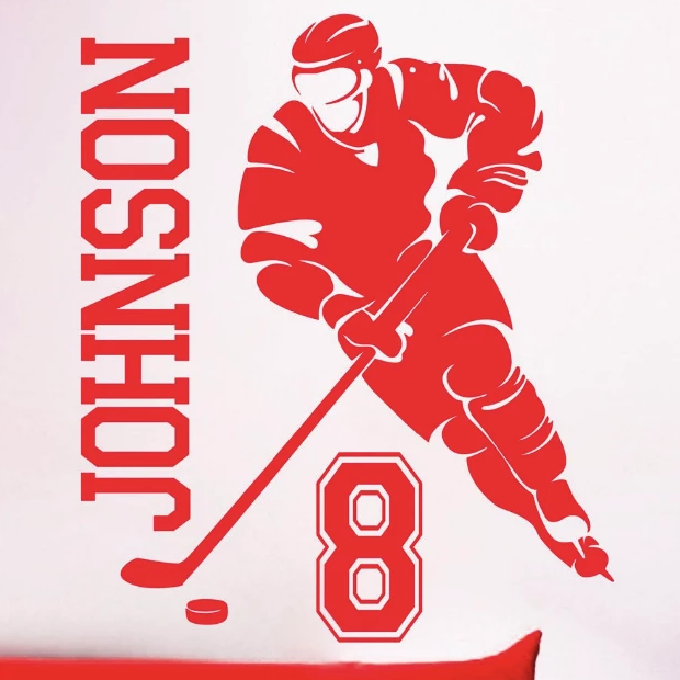 Hockey Player Side Name and Number