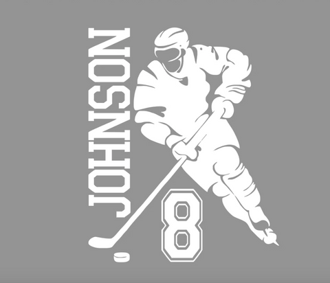 Personalized Hockey Player Wall Decal