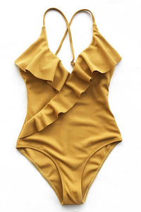 wantmustneed.com / Padded One-piece Swimsuit | Yellow Solid Ruffled [variant_title]