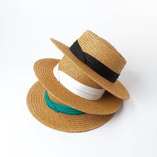 Load image into Gallery viewer, Handmade Boater Sun Hat | Light Paper Straw Amber_wantmustneed.com