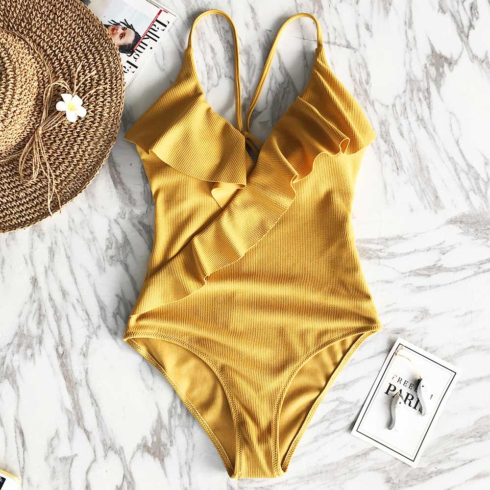 wantmustneed.com / Padded One-piece Swimsuit | Yellow Solid Ruffled YELLOW / L