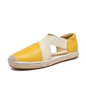 wantmustneed.com / Genuine Leather Sandals | Espadrilles Loafers Nera Yellow / 5