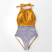 Load image into Gallery viewer, Padded One-Piece Swimsuit | Yellow Textured and Striped