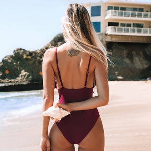 wantmustneed.com / Padded One-Piece Swimsuit | Solid Wine Red Ruffled Trim [variant_title]