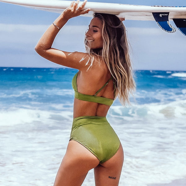 Padded High-Waisted Bikini | Lime Green Textured