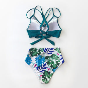 wantmustneed.com / Padded High-Waisted Bikini | Tropical Palms [variant_title]
