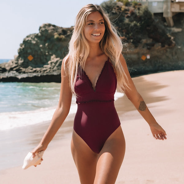 Padded One-Piece Swimsuit | Solid Wine Red Ruffled Trim_wantmustneed.com