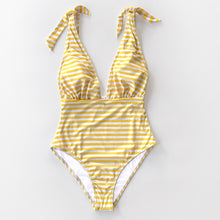 Load image into Gallery viewer, Padded One-Piece Swimsuit | Yellow Stripe Deep V-neck