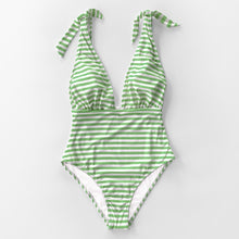 Load image into Gallery viewer, Padded One-Piece Swimsuit | Stripe Deep V-neck