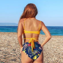 Load image into Gallery viewer, Padded High-waisted Bikini | Yellow Front Wrap