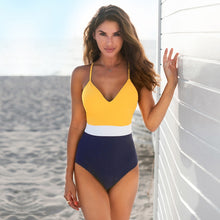 Load image into Gallery viewer, Padded One-Piece Swimsuit | Colorblock Yellow White Navy