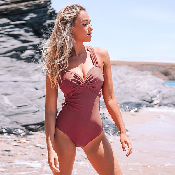 Padded One-Piece Swimsuit | Pink Twist and Cross