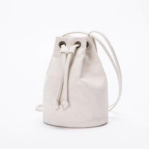 wantmustneed.com / Canvas Bucket Bag | Lisa May Beige