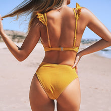 Load image into Gallery viewer, Padded Mid-waisted Bikini | Yellow Ruffled