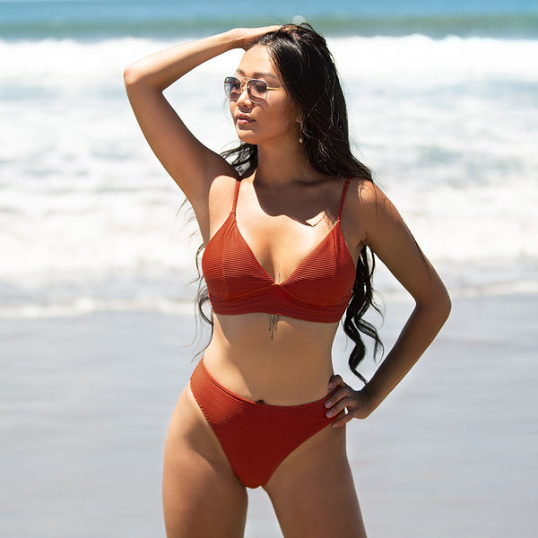 Padded Low-Waisted Bikini | Red Triangle Ribbed