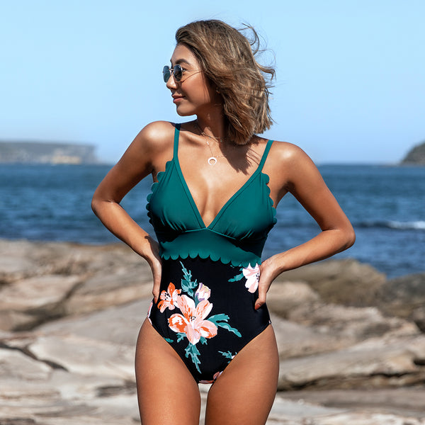 Padded One-Piece Swimsuit | Blue and Floral Scalloped