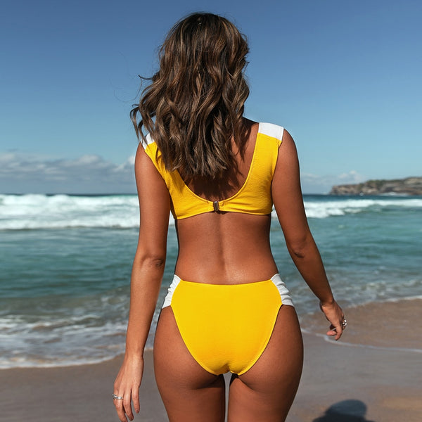 Padded Mid-Waisted Bikini | Yellow and White Ruched