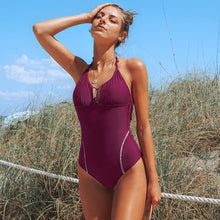 Load image into Gallery viewer, Padded One-Piece Swimsuit | Purple Backless Halter