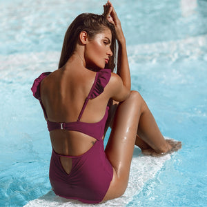 Padded One-Piece Swimsuit | Purple Ruffled V-neck