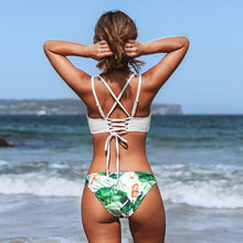 Load image into Gallery viewer, Padded Low-Waisted Bikini | White and Green Leaf