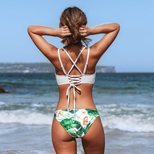 Padded Low-Waisted Bikini | White and Green Leaf