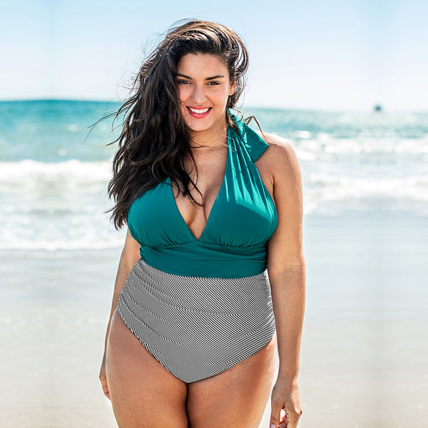 Plus Size One Piece Swimsuit | Green Striped Deep V-Neck