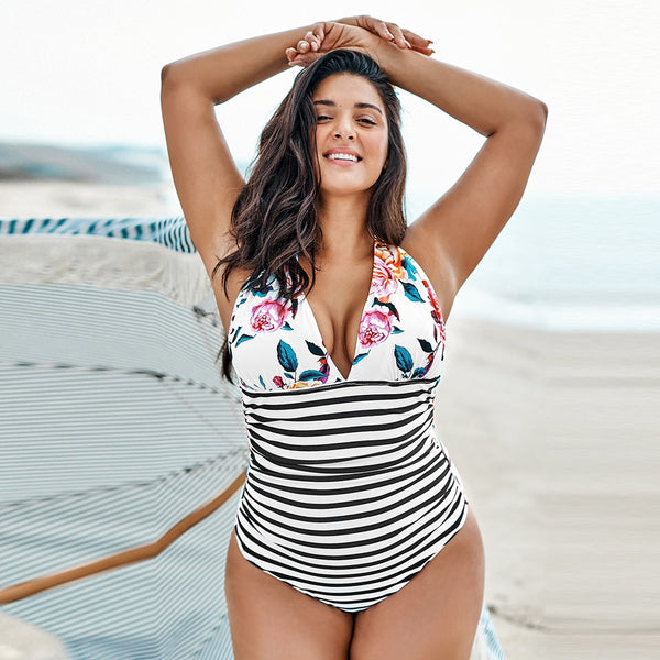 Plus Size One Piece Swimsuit | White Floral Halter