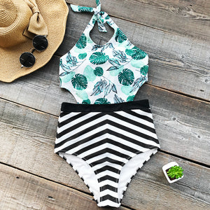 Padded One-piece Swimsuit | Green Leaf Print Cutout Striped_wantmustneed.com