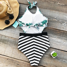 Load image into Gallery viewer, Padded One-piece Swimsuit | Green Leaf Print Cutout Striped_wantmustneed.com